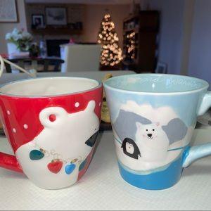 Set of Two Cute Winter Ceramic Mugs